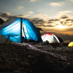 Tents in the mountains at night